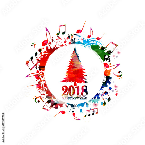 Christmas tree vector illustration with music notes. Happy New Year ...
