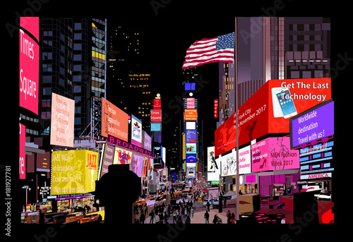 In de dag Art Studio Times Square at night
