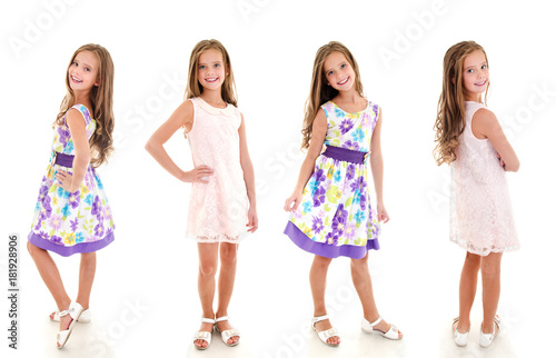 Plakát Collection of photos adorable smiling little girl child in princess dress isolat
