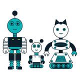 cartoon robots family icon