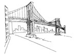 New York Skyline. Black and white vector sketch.