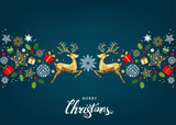 Christmas pattern with lettering and gold Xmas deer and  snowflakes. - 181934591