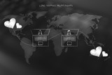 laptops with profile picture and lovehearts over world map - 181936995