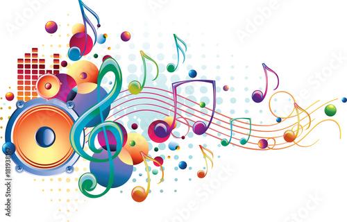 Fototapeta Bright sound - decorative music design