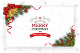 Christmas And New Year Greeting Card.Christmas background with decoration and paper. Decorative Christmas festive background with bells stars and ribbons. - 181939137