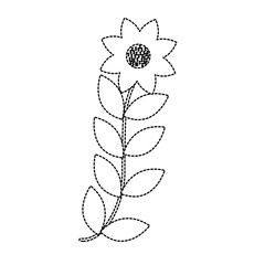 flower with leaves icon image vector illustration design  black dotted line