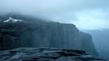 Upsidedown waterfall near famous Trolltunga cliff - 181942549