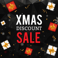 Christmas sale background with gift boxes, snowflakes and confetti on black geometric background. Christmas sale card.