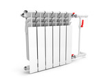 Heating white radiator isolated on white background 3d - 181947147