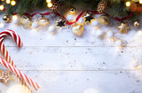 Christmas holidays composition on wooden background; Christmas tree decoration and copy space for your text - 181948989