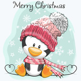 Cute Cartoon Penguin in a hat