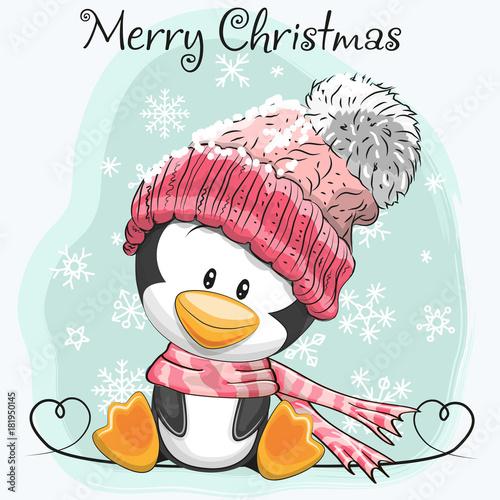 Cute Cartoon Penguin in a hat