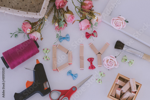 Flat lay hand craft Materials with DIY wooden wording - 181951585