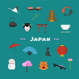 Japan vector illustration with Japanese famous landmarks, lantern, fan, other objects - 181952158