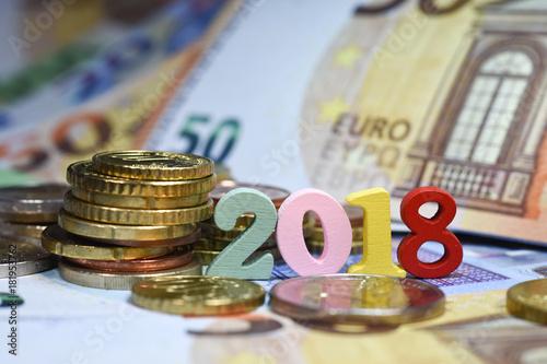 banknot euro pieniądze pieniądze wymiany kredytowej bank Europa rok 2018 stopa wzrost zainteresowania