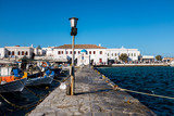 Mykonos, Greece (September 2017). Old port at the Mykonos city harbour on the Mykonos island, Cyclades in Greece - 181954354