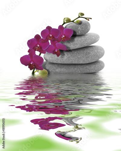 Foto op Canvas Zen Orchidée rouge sur galet et son reflet