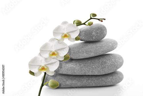 Foto op Aluminium Zen Orchidée blanche sur galet