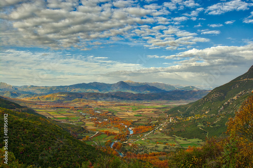 Foto op Canvas Bleke violet The valley of Voidomatis from the top on the way to Papigo