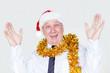 Cheerful amazed man winning Christmas giveaway
