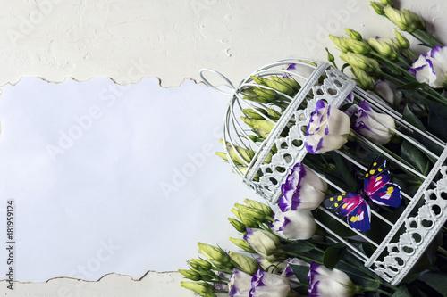Aluminium Lavendel valentine, february 14, romantic, butterfly, cage, congratulation, paper, writing, box, card, table, bright, celebration, festive, design, season, winter, decor, gift, white, holiday, background, deco