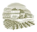 Woodcut Vintage Barnyard - 181960374