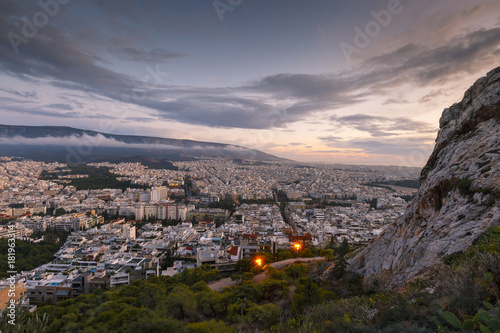 Keuken foto achterwand Lavendel View of city of Athens from Lycabettus hill at sunset, Greece.