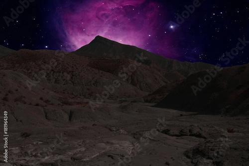 Poster Nasa Mountains ridges on the background a nebula