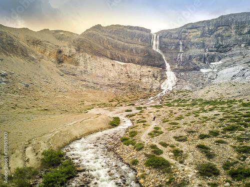 Bow Glacier Falls and stream, Banff National Park, Alberta, Canada