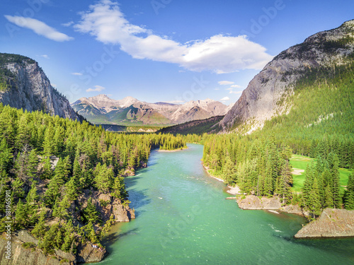 Aerial view of Bow river in Rockies Mountains, Banff National Park, Alberta, Canada