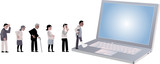 Line of people looking for medical help coming to a laptop, EPS 8 vector illustration - 181967191