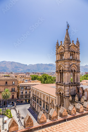 Keuken foto achterwand Palermo Palermo, Sicily, Italy. View from the roof of the Cathedral to the Archbishop's Palace