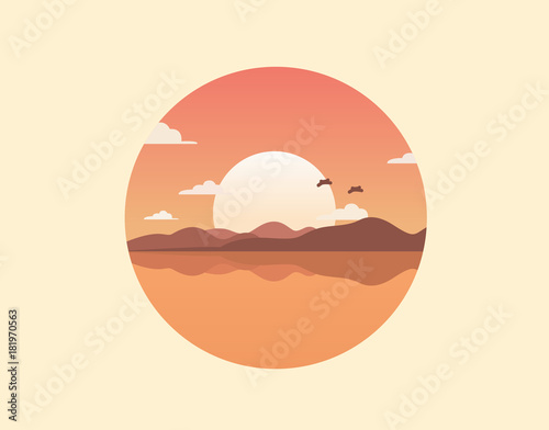 Staande foto Beige Flat nature icon. Round icon of nature with a landscape. Beautiful icon in modern style. Illustration