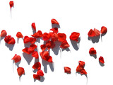 Red Petals of Flowers. Isolated on White. - 181974561