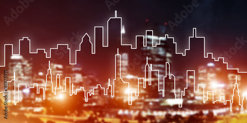Sticker Background conceptual image of night illuminated town as symbol for active lifestyle