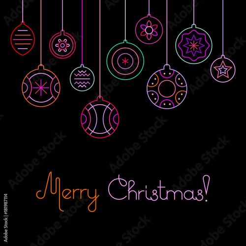 Tuinposter Abstractie Art Merry Christmas, Christmas balls vector illustration