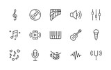 Set of Music Related Vector Line Icons. Contains such Icons as Pan Flute, Piano, Guitar, Treble Clef, In-ear and more. Editable Stroke. 32x32 Pixel Perfect - 181997777