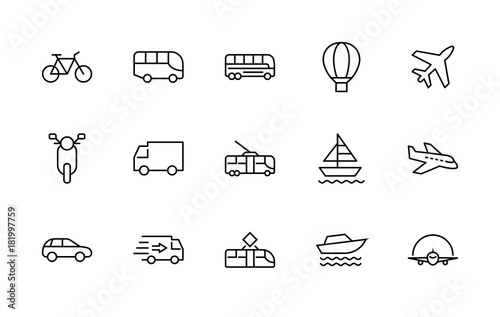Fototapeta Set of Public Transport Related Vector Line Icons. Contains such Icons as Bus, Bike, Scooter, Car, balloon, Truck, Tram, Trolley, Sailboat, powerboat, Airplane and more. Editable Stroke. 32x32 Pixel