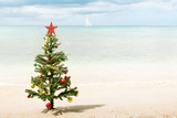 Christmas Tree on the Beach with Ocean and Sailboat in Background