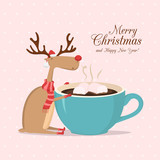 Reindeer with cup of coffee