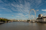 Panoramic Thames river vista in London in late October