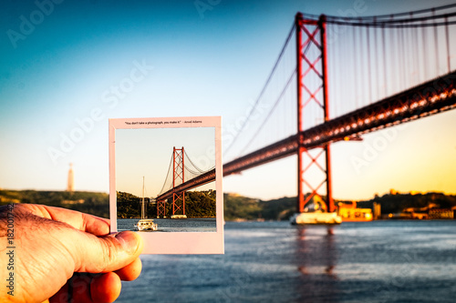 A picture in a picture of 25 de Abril's bridge in Lisbon Poster