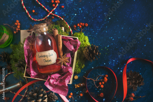 Present box with a bottle of Luck Potion Poster