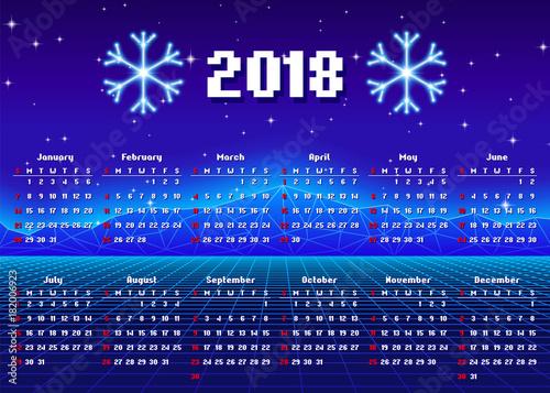 Foto op Canvas Violet Calendar 2018 horizontal A4 format starts on Sunday
