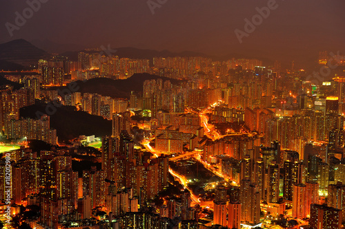 Plexiglas Lion Hong Kong Residential Tower at Twilight
