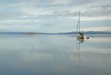 Gulf Islands Sailboat, British Columbia. A calm anchorage in the Gulf Islands, British Columbia.   - 182013102