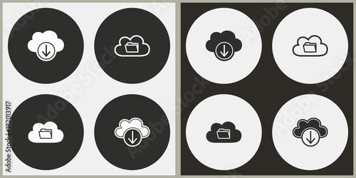 Fototapeta Cloud download - vector icon.