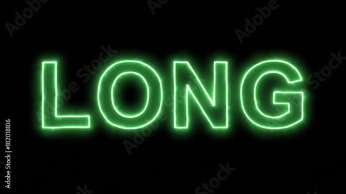 Neon flickering green text LONG in the haze. Alpha channel Premultiplied - Matted with color black
