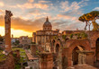 Rome and Roman Forum in Autumn (Fall) on a sunrise with beautiful stunning sky and sunrise colors
