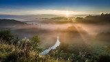 Amazing sunrise at foggy valley in autumn, Europe - 182023514